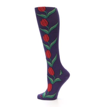Image of Purple Tulip Flower Women's Knee High Socks (side-2-13)