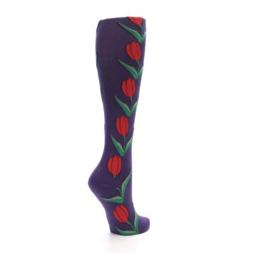 Image of Purple Tulip Flower Women's Knee High Socks (side-1-back-22)