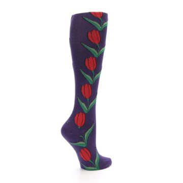 Image of Purple Tulip Flower Women's Knee High Socks (side-1-23)