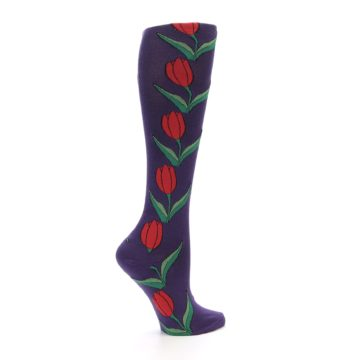 Image of Purple Tulip Flower Women's Knee High Socks (side-1-24)