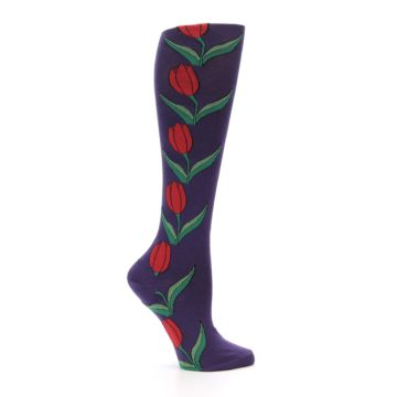 Image of Purple Tulip Flower Women's Knee High Socks (side-1-25)
