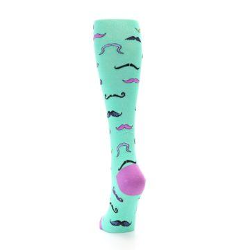 Image of Mint Mustaches Women's Knee High Socks (back-17)