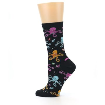 Image of Black Multi Octopus Women's Dress Socks (side-2-12)