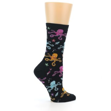 Image of Black Multi Octopus Women's Dress Socks (side-1-24)