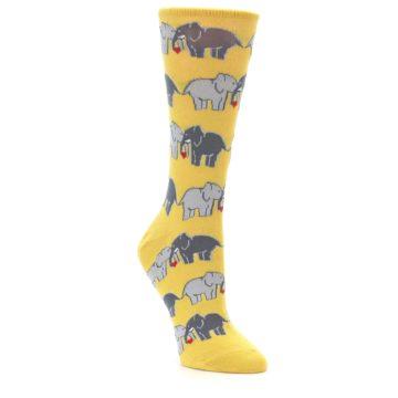 Image of Yellow Grey Elephants Women's Dress Socks (side-1-front-01)