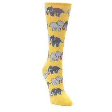 Image of Yellow Grey Elephants Women's Dress Socks (side-1-front-02)