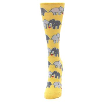 Image of Yellow Grey Elephants Women's Dress Socks (side-2-front-06)