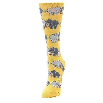 Image of Yellow Grey Elephants Women's Dress Socks (side-2-front-07)