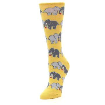 Image of Yellow Grey Elephants Women's Dress Socks (side-2-front-08)