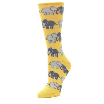 Image of Yellow Grey Elephants Women's Dress Socks (side-2-09)