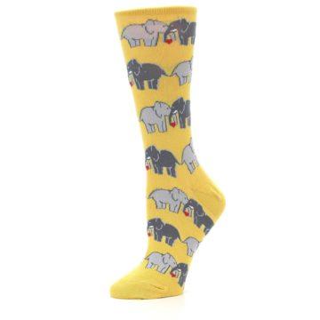 Image of Yellow Grey Elephants Women's Dress Socks (side-2-10)