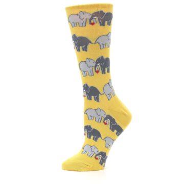 Image of Yellow Grey Elephants Women's Dress Socks (side-2-11)