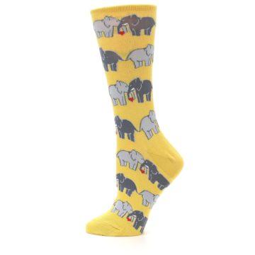Image of Yellow Grey Elephants Women's Dress Socks (side-2-12)