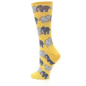 Image of Yellow Grey Elephants Women's Dress Socks (side-2-back-14)