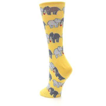 Image of Yellow Grey Elephants Women's Dress Socks (side-2-back-15)