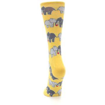 Image of Yellow Grey Elephants Women's Dress Socks (back-17)