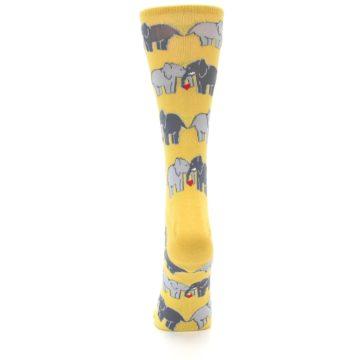 Image of Yellow Grey Elephants Women's Dress Socks (back-18)