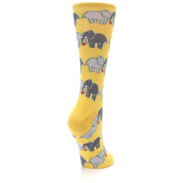 Image of Yellow Grey Elephants Women's Dress Socks (side-1-back-21)