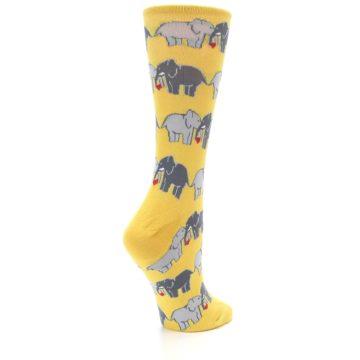 Image of Yellow Grey Elephants Women's Dress Socks (side-1-back-22)