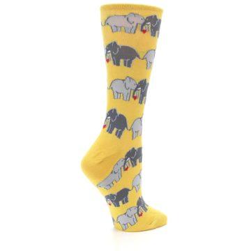 Image of Yellow Grey Elephants Women's Dress Socks (side-1-23)