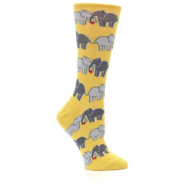 Image of Yellow Grey Elephants Women's Dress Socks (side-1-25)