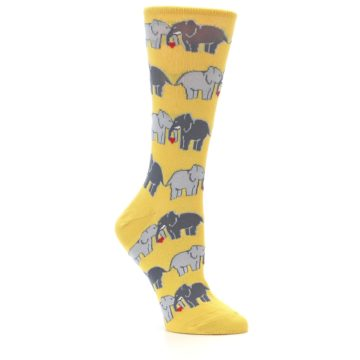 Image of Yellow Grey Elephants Women's Dress Socks (side-1-26)