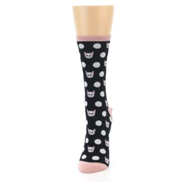 Image of Black White Cat Polka Dots Women's Dress Socks (side-2-front-06)