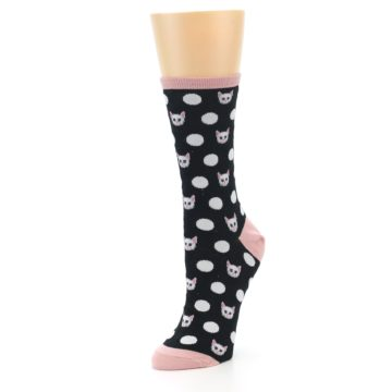 Image of Black White Cat Polka Dots Women's Dress Socks (side-2-front-08)