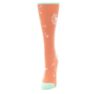 Image of Coral Dandelions Women's Dress Socks (side-2-front-06)