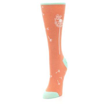 Image of Coral Dandelions Women's Dress Socks (side-2-front-07)