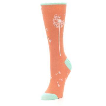 Image of Coral Dandelions Women's Dress Socks (side-2-front-08)