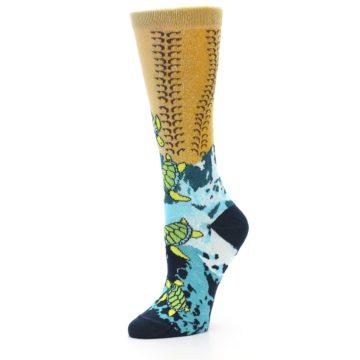 Image of Tan Blue Sea Turtle Women's Dress Socks (side-2-09)