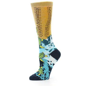 Image of Tan Blue Sea Turtle Women's Dress Socks (side-2-10)