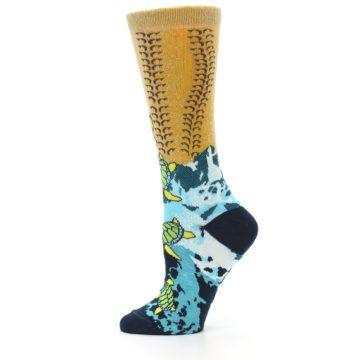 Image of Tan Blue Sea Turtle Women's Dress Socks (side-2-11)