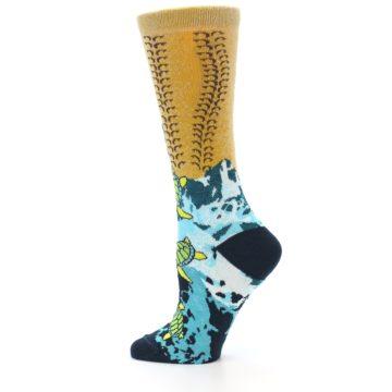 Image of Tan Blue Sea Turtle Women's Dress Socks (side-2-12)