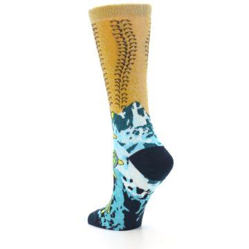 Image of Tan Blue Sea Turtle Women's Dress Socks (side-2-back-14)