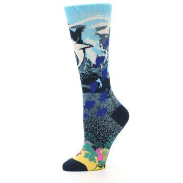 Image of Blue Ocean Shark Women's Dress Socks (side-2-10)