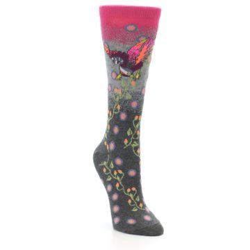 Image of Grey Pink Bird Women's Dress Socks (side-1-front-02)
