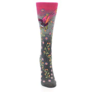 Image of Grey Pink Bird Women's Dress Socks (front-04)