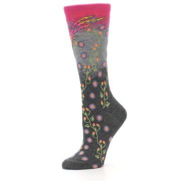 Image of Grey Pink Bird Women's Dress Socks (side-2-10)