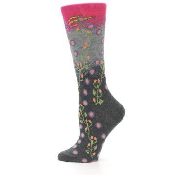 Image of Grey Pink Bird Women's Dress Socks (side-2-12)