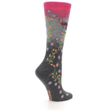 Image of Grey Pink Bird Women's Dress Socks (side-1-23)