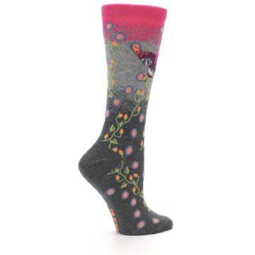 Image of Grey Pink Bird Women's Dress Socks (side-1-24)