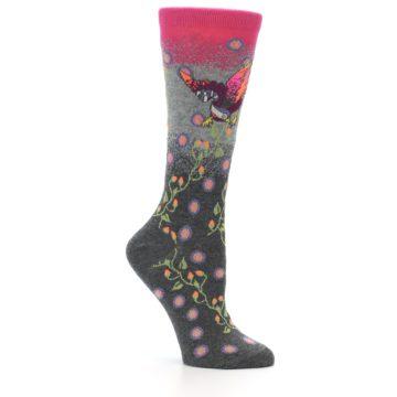 Image of Grey Pink Bird Women's Dress Socks (side-1-26)