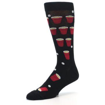 Image of Black Red Beer Pong Men's Dress Socks (side-2-09)
