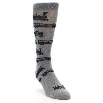 Image of Grey Black Trains Men's Dress Socks (side-1-front-02)