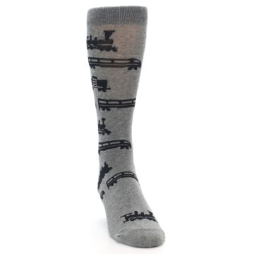 Image of Grey Black Trains Men's Dress Socks (side-1-front-03)