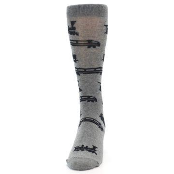 Image of Grey Black Trains Men's Dress Socks (front-05)
