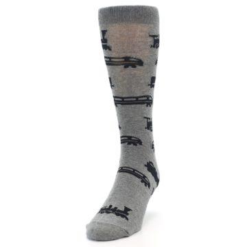 Image of Grey Black Trains Men's Dress Socks (side-2-front-06)