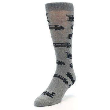 Image of Grey Black Trains Men's Dress Socks (side-2-front-07)
